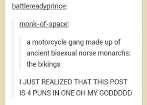 Puns, Gang, and Motorcycle: battlereadyprince  monk-of-space  a motorcycle gang made up of  ancient bisexual norse monarchs:  the bikings  I JUST REALIZED THAT THIS POST  IS 4 PUNS IN ONE OH MY GODDDDD
