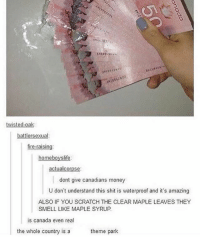 Fire, Funny, and Lmao: battlersexual:  fire-raising:  homeboy slife  actualcorpse  dont give canadians money  U don't understand this shit is waterproof and it's amazing  ALSO IF YOU SCRATCH THE CLEAR MAPLE LEAVES THEY  SMELL LIKE MAPLE SYRUP.  is Canada even rea  the whole country is a  theme park I wish I could do this with usd Follow me (@whoaciety) for more 💓 - - - - - [tags: textpost textposts wtftumblr funnytumblr tumblrlol tumblrtextpost tumblrtextposts tumblr funnytextpost funnytextposts tumblrfunny ifunny relatable relatabletextpost rt same relatablepost nexfliting 314tim meme lmao shrek spongebob trickshot 😂 pepe textpostaccount cohmedy funny satan ]