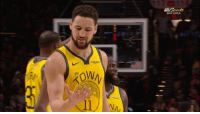 "Bay Area, You, and Bay: BAY AREA Klay to his right hand after hitting a 3P: ""I missed you."" 😂"
