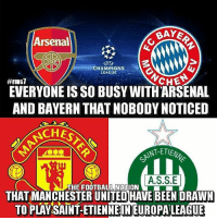 Arsenal, Emoji, and Iphone: BAY&  Arsenal  CHAMPIONS  LEAGUE  CHE  #rmsi  EVERYONE IS SO BUSY WITHARSENAL  AND BAYERN THATNOBODY NOTICED  ACHES  INT-ETE  A.S.S.E  THE FOOTBA  THAT MANCHESTER UNITEDHAVEBEENDRAWN  TO PLAY SAINT-ETIENNEIN EURO PALEAGUE WOW ManUtd vs Saint-Etienne 😱👀😂 🔺FREE iPhone Football Emojis, Link In Our Bio! 🔥 🔺 PSG Swoop £50M Prem Star ➡️ @bestfootballjokes BIO