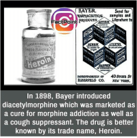 What's your say about this name 🤔 did you know fact point , education amazing dyk unknown facts daily facts💯 didyouknow follow follow4follow earth science commonsense f4f factpoint instafact awesome world worldfacts like like4ike tag friends Don't forget to tag your friends: BAYER  Send far  HARMACBUTICALsamples and  FactPoine PRODUCT,ASPIRIN\uterature t  EARBENFABRIKE  enm  FRIEDR BAYER&C  ELBERFELD  Hero  roin  SALOPH  PHE  geseltiop  A  P40 SroNB ST  ELBERFELD CO.  NEW YORK.  In 1898, Bayer introduced  diacetylmorphine which was marketed as  a cure for morphine addiction as well as  a cough suppressant. The drug is better  known by its trade name, Heroin. What's your say about this name 🤔 did you know fact point , education amazing dyk unknown facts daily facts💯 didyouknow follow follow4follow earth science commonsense f4f factpoint instafact awesome world worldfacts like like4ike tag friends Don't forget to tag your friends