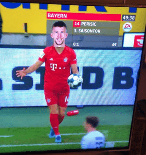 Memes, Sports, and Perfect Timing: BAYERN  49:38  14 PERISIC  EA  SPORTS  3. SAISONTOR  0:1  49'  S DB  T.  14 RT @FootballWTF247: Perfect timing 😂 #Bayern #bayernmunich #fcb #bayernmünchen #perisic https://t.co/s2czKSFziS