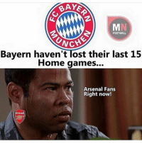 Arsenal, Football, and Memes: BAYS  FOOTBALL  UNCH  Bayern haven't Tost their last 15  Home games...  Arsenal Fans  Right now! When Arsenal fans realize it's already 1-0......😂😂 Follow @memes.futbal