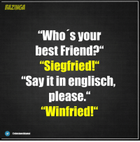 """Memes, 🤖, and Whos-Your-Best-Friend: BAZINGA  """"Who's your  best Friend?""""  """"Siegfried!""""  """"Say it in englisch,  please.""""  """"Winfried!""""  @einstueckkunst"""