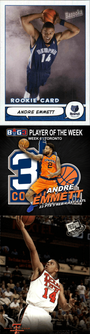 RIP Texas legend Andre Emmett. The former NBA & current BIG3 player was reportedly shot & killed this morning. https://t.co/4mcLqDUNLW: Bazooka  SPALDING  NEMPHA  ROOKIE CARD  ΠEMPHIS  GRIZZLIES  ANDRE EMMETT  BAZOOWA WANEZ   BG3 PLAYER OF THE WEEK  WEEK 6 TORONTO  BIL  COMPAN  ANDRE  COEMMET  TM  23 PTS 5 REB 4AST 4 STL   PREDOPHOO  14  RED HATDERS RIP Texas legend Andre Emmett. The former NBA & current BIG3 player was reportedly shot & killed this morning. https://t.co/4mcLqDUNLW