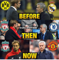 Memes, Liverpool F.C., and Game: (BB  09  BEFORE  ELSE  LIVERPOOL  Credits: @FOOTY.BASE  OTBALL  THEN  CHES  LIVERPOOL  UNITED  NOW Klopp and Mourinho over the years 🤘 Who will win the big game tomorrow, Klopp's Liverpool or José's United? 😏👇 Double Tap and follow @footy.base for more! 🔥