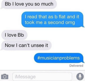 love you so much: Bb I love you so much  I read that asb flat and it  took me a second omg  I love Bb  Now I can't unsee it  #musicianproblems  Delivered  iMessage