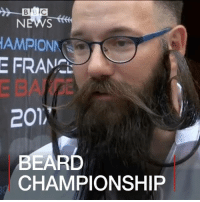 20 JUN: Men sporting hipster beards and arty moustaches gathered in Paris at the weekend for the first French Beard Championship. We find out what they made of it and whose beard was the best. BeardCompetition Beards Paris BBCShorts BBCNews @bbcnews: BB  NEWS  AMPIONN  E FRAM.  201,  EARD  CHAMPIONSHIP 20 JUN: Men sporting hipster beards and arty moustaches gathered in Paris at the weekend for the first French Beard Championship. We find out what they made of it and whose beard was the best. BeardCompetition Beards Paris BBCShorts BBCNews @bbcnews