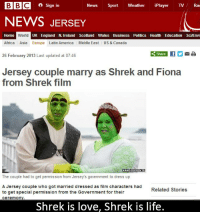 BBC a Sign in  News  Sport Weather  iPlayer TV  Rao  NEWS JERSEY  Home World UK England N. Ireland Scotland l Wales Business Politics Health Education SciEnvi  Africa Asia  Europe Latin America Middle East  US & Canada  Share If Y  Ma  26 February 2013 Last updated at 07:46  Jersey couple marry as Shrek and Fiona  from Shrek film  KANDID PRINTS  The couple had to get permission from Jersey's government to dress up  A Jersey couple who got married dressed as film characters had  Related Stories  to get special permission from the Government for their  ceremony  Shrek is love, Shrek is life. Shrek is love, Shrek is life.