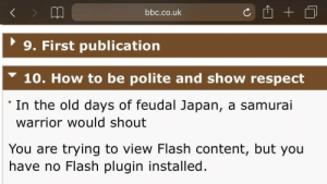 meirl by Edawg649 MORE MEMES: bbc.co.uk  9. First publication  10. How to be polite and show respect  'In the old days of feudal Japan, a samurai  warrior would shout  You are trying to view Flash content, but you  have no Flash plugin installed. meirl by Edawg649 MORE MEMES