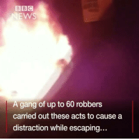 "'Robbery of the Century' 😨👀 repost via @bbcnews A huge robbery in Paraguay has sparked gun battles in the city of Ciudad del Este and in neighbouring Brazil. The gang blew up the vaults of a security firm stealing up to $40m (£31m; €37m) in what Paraguayan officials are calling ""the robbery of the century"". They set fire to cars and attacked a local police station to create a diversion in a bid to get away across the border. Brazilian police exchanged gunfire with members of the gang in a two-hour shootout. A police officer and three gang members were killed, but the majority of the gang escaped. A security operation is under way both sides of the border to catch them.: BBC  EWS  A gang of up to 60 robbers  carried out these acts to cause a  distraction while escaping.. 'Robbery of the Century' 😨👀 repost via @bbcnews A huge robbery in Paraguay has sparked gun battles in the city of Ciudad del Este and in neighbouring Brazil. The gang blew up the vaults of a security firm stealing up to $40m (£31m; €37m) in what Paraguayan officials are calling ""the robbery of the century"". They set fire to cars and attacked a local police station to create a diversion in a bid to get away across the border. Brazilian police exchanged gunfire with members of the gang in a two-hour shootout. A police officer and three gang members were killed, but the majority of the gang escaped. A security operation is under way both sides of the border to catch them."