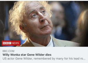 Alive, Reddit, and Willy Wonka: BBC NEW  BBC.COM  Willy Wonka star Gene Wilder dies  US actor Gene Wilder, remembered by many for his lead ro... You're still alive in our hearts