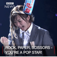 Memes, Phenomenon, and 🤖: BBC  NEW  ROCK, PAPER, SCISSORS  YOU'RE A POP STAR! 27 JAN: Watch the most intense rock, paper, scissors contest ever. It bewildered and obsessed the internet when members of Japanese band AKB48 played the ultimate game to pick their new lead singer. Since 2005, AKB48 has sold more than 40 million singles and has become little short of a phenomenon in the time it has been active. Find out more: bbc.in-scissors @akb48 JapanesePop Japan Music BBCShorts BBCNews @BBCNews