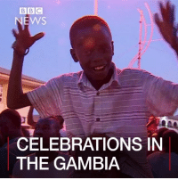Memes, Bbc News, and 🤖: BBC  NEWS  CELEBRATIONS IN  THE GAMBIA 23 JAN: Hundreds of people have been celebrating in The Gambia's capital city of Banjul as West African troops entered the presidential compound, but more than $11m is reportedly missing from state coffers following the departure of long-time leader Yahya Jammeh. The former president flew into exile on Saturday, ending his 22 years in power. He had refused to accept election results but finally left after mediation by regional leaders and the threat of military intervention. Find out more: bbc.in-thegambia TheGambia Gambia Africa Politics AdamaBarrow YahyaJammeh Senegal BBCShorts BBCNews @BBCNews