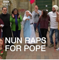 Meet the rapping nun who's going to give Pope Francis a very special welcome to Colombia. Sister Maria Valentina is part of a group of nuns who use online videos and songs to spread their religious message. Pope Francis flies into Colombia later this week. religion hope christian talent rap pope colombia bogota dance music hiphop faith: BBC  NEWS  NUN RAPS  FOR POPE Meet the rapping nun who's going to give Pope Francis a very special welcome to Colombia. Sister Maria Valentina is part of a group of nuns who use online videos and songs to spread their religious message. Pope Francis flies into Colombia later this week. religion hope christian talent rap pope colombia bogota dance music hiphop faith