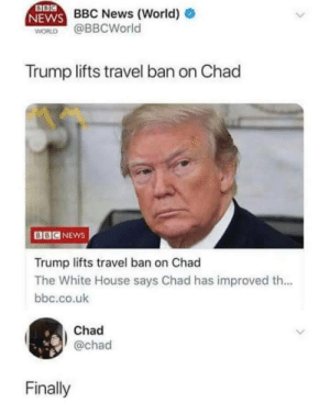 Me irl by action_jim FOLLOW HERE 4 MORE MEMES.: BBC News (World)  WORLD @BBCWorld  Trump lifts travel ban on Chad  BBCNEws  Trump lifts travel ban on Chad  The White House says Chad has improved th...  bbc.co.uk  Chad  @chad  Finally Me irl by action_jim FOLLOW HERE 4 MORE MEMES.