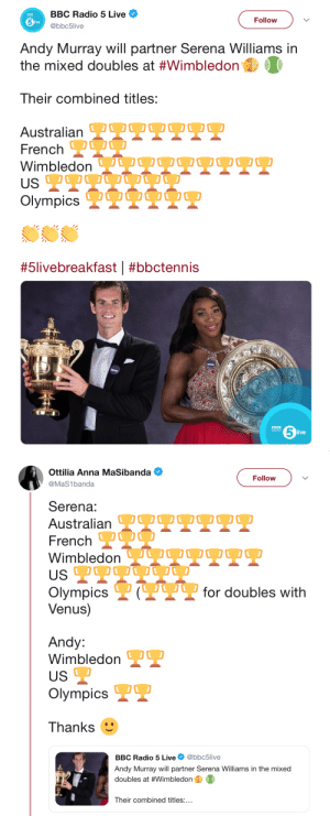 fierce-katzchen:They tried it : BBC Radio 5 Live  Follow  live  @bbc5live  Andy Murray will partner Serena Williams in  the mixed doubles at #Wimbledon  Their combined titles:  Australian OOOO OO0  French  Wimbledon VQU OO O  USP  Olympics IQUO O  #5livebreakfast | #bbctennis  5  BBC  RADIO  live   Ottilia Anna MaSibanda  Follow  @MaS1banda  Serena:  Australian TTPPT  French O  WimbledonJUOOQ2O.  US  P?for doubles with  Olympics  Venus)  Andy:  Wimbledon  US  Olympics  Thanks  @bbc5live  BBC Radio 5 Live  Andy Murray will partner Serena Williams in the mixed  doubles at #Wimbledon  Their combined titles:... fierce-katzchen:They tried it