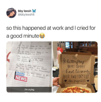 Crying, News, and Pizza: bby leesh W  @bbyleesh6  so this happened at work and I cried for  a good minute  Can ou plase do ths for  m byiend before u Call or arde  n you please wile Boldly on the  nsde of e pzza bok lid:  THE  The boterfies in m tumm  hae tucned inlo 2  Im Pregnant c  IN MY TUMMY  leible or pce  for bei  part of tha announcement  name on the order S  ond we Ordered:  ediseINTO IWTINY H  Breaking  NEWS  I'm crying Pizza and baby delivery!! via /r/wholesomememes https://ift.tt/2nBE9Bn
