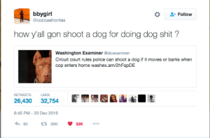 Dogs, Police, and Shit: bbygirl  @cocoaahontas  Follow  how y'all gon shoot a dog for doing dog shit?  Washington Examiner @dcexaminer  Circuit court rules police can shoot a dog if it moves or barks when  cop enters home washex.am/2hFqpDE  RETWEETS LIKES  26,430 32,754L  6:45 PM-20 Dec 2016 The feds movin on to dogs now smh #Fuck12 👮🏻🚫😤