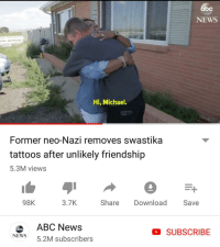 News, Tattoos, and Http: bc  NEWS  Hi, Michael.  Former neo-Nazi removes swastika  tattoos after unlikely friendship  5.3M views  98K  3.7K  Share  Download Save  0bcABC News  NEWS 5.2M subscribers  D SUBSCRIBE I hope nobody posted this here before. via /r/wholesomememes http://bit.ly/2MYlXh7