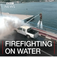 Memes, Blaze, and Dolphin: BCE  B NEWS  FIREFIGHTING  ON WATER 23 JAN: Are firefighters on water the firefighters of the future? In Dubai, the Dolphin firefighting system, which involves a jet ski and a water-powered jetpack being used to extinguish blazes, has been showcased. The Dubai Civil Defence says the system is already in use and could be expanded across the city. 🎥: Dubai Media Office- Dubai Civil Defence. Find out more: bbc.in-dubaidolphin Firefighting Dubai BBCShorts BBCNews @BBCNews 🚒