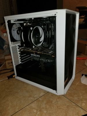 Waiting..., Cpu, and Geforce: bD  GEFORCE RTX  ER  z2  CORSAIR  CORSAIR  CPU  ad 2 months of waiting and it's finally done