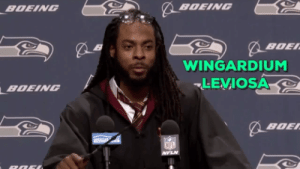 Football, Harry Potter, and Nfl: BDE  WINGARDIUM  -LEVIOSA  BDEING  BOE  FL  NFLN daily-harrypotter-world:  Quidditch or football? Richard Sherman (NFL - Seattle Seahawks) dressed up as Harry Potter today