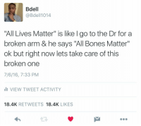 """This is exactly what it's about..: Bdell  @Bdel 1014  All Lives Matter"""" is like l go to the Dr for a  broken arm & he says """"All Bones Matter""""  ok but right now lets take care of this  broken one  7/6/16, 7:33 PM  li VIEW TWEET ACTIVITY  18.4K  RETWEETS  18.4K  LIKES This is exactly what it's about.."""