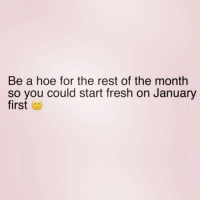 Fresh, Hoe, and Girl Memes: Be a hoe for the rest of the month  so you could start fresh on January  first Be a fresh hoe in January