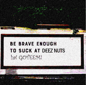 I find r/getmotivated dumb.: BE BRAVE ENOUGH  TO SUCK AT DEEZ NUTS  ha! GOTEEM! I find r/getmotivated dumb.