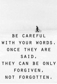 Once, Can, and They: BE CAREFU L  WITH YOUR WORDS.  ONCE THEY ARE  SAID,  THEY CAN BE ONLY  FORGIVEN,  NOT FORGOTTEN.