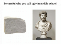 Dank, 🤖, and Via: Be careful who you call ugly in middle school Be careful.  (via See more memes)