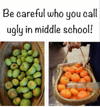 Meme, Memes, and School: Be careful who you  eat  ugly in middle school!  getty images oc from our previous page Persimmon Memes