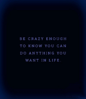 Life, Yo, and Can: BE CRAZ Y ENOUGH  TO KNOW YOU CAN  D O ANYTHING YO U  WANT IN LIFE