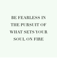 Fire, Soul, and Fearless: BE FEARLESS IN  THE PURSUIT OF  WHAT SETS YOUR  SOUL ON FIRE