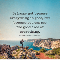 Memes, Good, and Happy: Be happy not because  everything is good, but  because you can see  the good side of  everything.  ePeacefulMindPeacefulLife