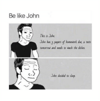 Be Like, Animal, and Spirit: Be like John  )  This is John  John has 3 papers gf homework due, 2 tests  tomorrow and needs to wash the dishes  John decided to sleep. john is my spirit animal
