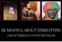 Convicted, One, and Felon: BE MINDFUL ABOUT STEREOTYPES  ONE OF THESE IS A CONVICTED FELON https://t.co/IuNMWSjJIr