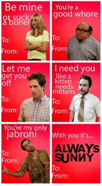 Friends, Jabroni, and Memes: Be mine  You're a  good whore  or suck  a bone  To  From  From  I need you  Let me  like a  get you  kitten  off  needs  mittens  From: A  You're my only  Jabroni With you it's  SUNMY  From:  O:  From It's Always Sunny In Philadelphia Valentine's Day cards you can give your friends :)