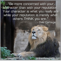 """Memes, 🤖, and Com: """"Be more concerned with your  aracter than with your reputation  Your character is what you really are  while your reputation is merely what  others THINK you are  Dale Carnegie  minentlyquotable.com Pass it on <3"""