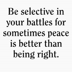 🎯: Be selective in  your battles for  sometimes peace  is better than  being right. 🎯