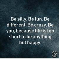 Crazy, Life, and Memes: Be silly. Be fun. Be  different. Be crazy Be  you, because life is too  short to be anything  but happy.  RQ  RELATIONSHIP  OUOTES