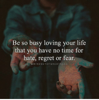 Beautiful, Life, and Memes: Be so busy loving your life  that you have no time for  hate, regret or fear.  MIND SET OF GREAT NES S Via @mindsetofgreatness 😊 Live your life with purpose. Focus on your blessings, not your misfortunes. Focus on your strengths, not your weaknesses. Be yourself and don't wait for the approval of others. But most importantly, have a positive and humble mindset no matter what situation you are in. Count your blessings, not your problems, and you will realize how beautiful your life truly is. — Troy Amdahl positivethinking goodvibes awakespiritual innerpeace