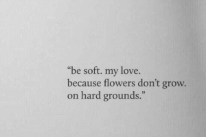 """Love, Flowers, and Grow: """"be soft. my love  because flowers don't grow.  on hard grounds."""
