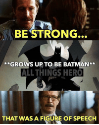 Batman, Memes, and Strong: BE STRONG  GROWS UP TO BE BATMAN  ALL THINGS HERO  THAT WAS A FIGURE OF SPEECH Be careful what you ask for. batman