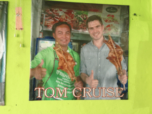 Posted in a restaurant in Thailand: BE TAGRO  TOM CRUISE Posted in a restaurant in Thailand
