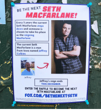 Seth MacFarlane: BE THE NEXT  MACFARLANE  Every 5 years the current  Seth MacFarlane steps  down and someone is  chosen to take his place  as the reigning  MacFarlane  The current Seth  MacFarlane is a man  from lowa named Jeffrey  ial  Colbies  Jeffrey  Jeffrey's reign ends  THIS DECEMBER.  ENTER THE RAFFLE TO BECOME THE NEXT  SETH MACFARLANE AT  FOX.COM/BETHENEXTSETH  No purchase necessary to enter. Anyone can be the next MacFarlane. The raffle is open to  you are accepting the responsibilties of being MacFarlane if vour name is chosen. The new  to the MacFarlane Wife. You must feed the MacFarlane Dogs and be sh  all ages, genders, ethnicities, and species. By entering raffle  showrunner of the show named Family Guy  FB.COM/ALANWAGNERANDHISVIDS