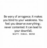 Memes, Never, and 🤖: Be wary of arrogance. It makes  you blind to your weakness. You  feel you deserve everything:  never contented. It can lead to  your downfall  MUFTI ISMAIL MENK Tag • Share • Like Be wary of arrogance. It makes you blind to your weakness. You feel you deserve everything ; never contented. It can lead to your downfall. muftimenk muftimenkfanpage muftimenkreminders Follow: @muftimenkofficial Follow: @muftimenkreminders