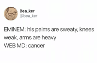 Dank, Eminem, and Cancer: Bea ker  @bea_ker  EMINEM: his palms are sweaty, knees  weak, arms are heavy  WEB MD: cancer Ha