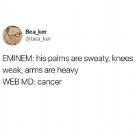 Eminem, Cancer, and Dank Memes: Bea ker  @bea_ker  EMINEM: his palms are sweaty, knees  weak, arms are heavy  WEB MD: cancer